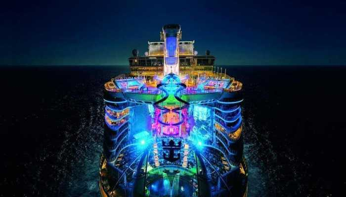 Cruise ship on ocean at night.
